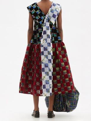 Chopova Lowena Exaggerated-collar Flocked-taffeta Midi Dress - Red Multi