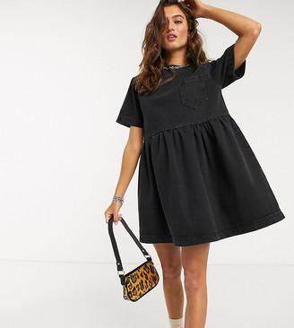 Collusion denim mini smock dress in washed black