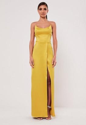 Missguided Mustard Satin Split Maxi Dress