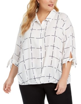 Alfani Plus Size Grid-Print Blouson Shirt, Created for Macy's