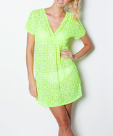 Yellow Square V-Neck Swimsuit Cover-Up