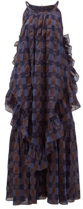 Binetti Love Jungle Oversized Ruffled Checked-cotton Maxi Dress - Womens - Blue Multi