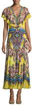 Roberto Cavalli Printed Flutter-Sleeve Ruffle-Bib Gown, Yellow