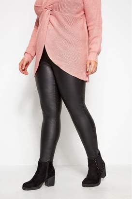 Womens Yours Curve Coated Leggings - Black