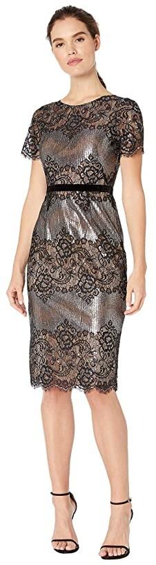 BCBGMAXAZRIA Eve Short Knit Dress (Gunmetal Combo) Women's Clothing