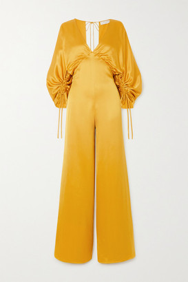 Vanessa Cocchiaro The Wu Ruched Satin Jumpsuit - Mustard