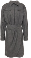Thumbnail for your product : BA&SH Wrap-effect Pleated Twill Shirt Dress
