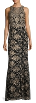 Marchesa Mesh Embroidered Gown