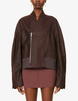 Rick Owens Tec leather bomber jacket