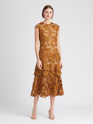 Oscar de la Renta Guipure Layered Midi Dress
