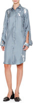 Jil Sander Archipelago Open-Sleeve Button-Front Shirtdress, Slate Blue