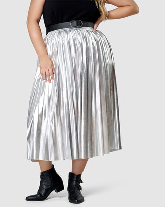 Sunday In The City - Women's Silver Leather skirts - Atomic Pleated Midi Skirt - Size One Size, 12 at The Iconic