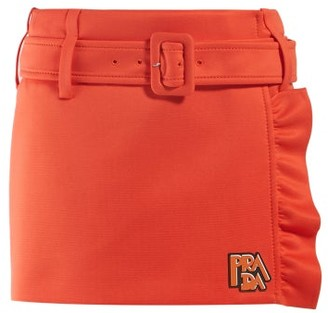 Prada Belted Ruffle-trimmed Mini Skirt - Womens - Orange