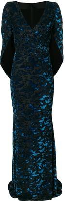 Talbot Runhof velvet cape gown