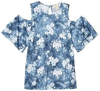 MICHAEL Michael Kors Bleached Floral Flounce Top (Chambray) Women's T Shirt