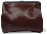 Clare Vivier Pierlot Supreme Leather-trimmed Calf Hair Clutch - Burgundy