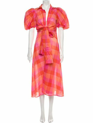 Silvia Tcherassi Plaid Print Midi Length Dress Pink