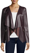 Neiman Marcus Vegan Leather Ruffle Jacket, Wine