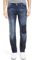French Connection Men's Snakeboard Patched Slim Fit Jeans