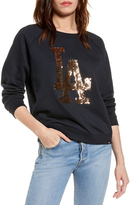 '47 Fade Out Boyfriend Sequin Graphic MLB Logo Sweatshirt