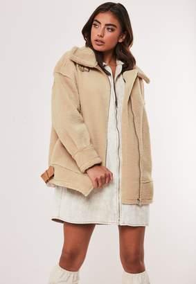 Missguided Stone Faux Fur Oversized Aviator Jacket