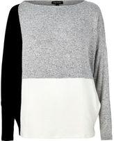 River Island Womens Grey color block batwing top