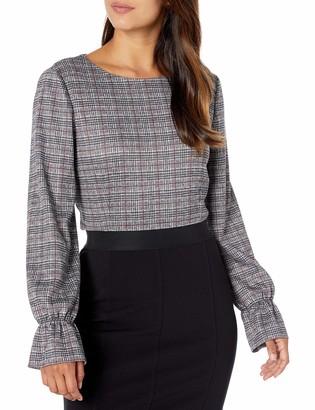 Nine West Women's Plus Size Long Sleeve Knit Plaid TOP