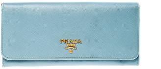 Prada Light Blue Saffiano Metal Leather Continental Flap Wallet