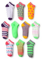 Modern Heritage Women's Multi Bright Combo Low Cut Sock 10-Pack - Bright Lime 9-11