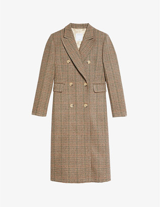 Sandro Ilan double-breasted check wool-blend coat