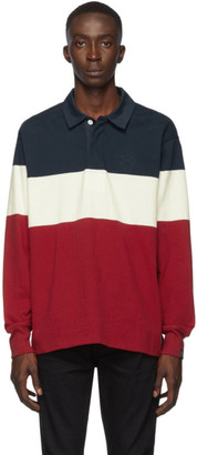 Rag & Bone Navy and Red Colorblock Rugby Polo