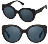Women's Perverse 49Mm Feline Round Cat Eye Sunglasses - Black/ Black