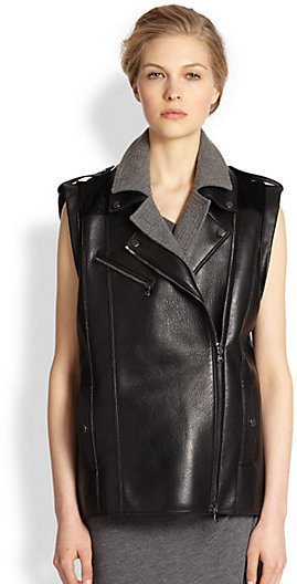 Veronica Beard Neoprene-Paneled Leather Vest