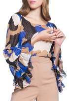 Tracy Reese Flounce Printed Silk Top