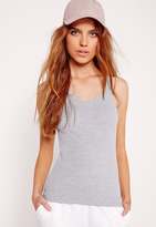 Missguided Jersey Racer Tank Top Top Grey