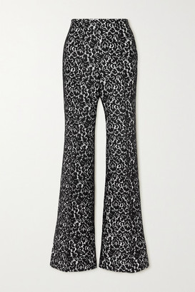 Michael Kors Collection Brooke Lace And Crepe Flared Pants - Black