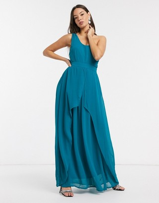 Little Mistress Libra one shoulder maxi dress in blue