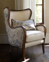 Ivory Crewel & Leather Chair