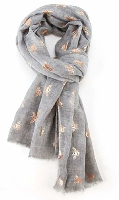 LilyRosa Bee Scarf Bumble Bees Grey Blue Silver Pink Rose Gold Bees Shawl Wrap