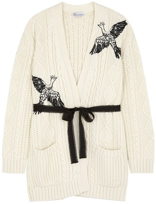 RED Valentino White embroidered cable-knit cardigan
