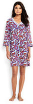 Lands' End Women's Petite Embroidered Woven Tunic Cover-up-White/Eletric Blue Paisley