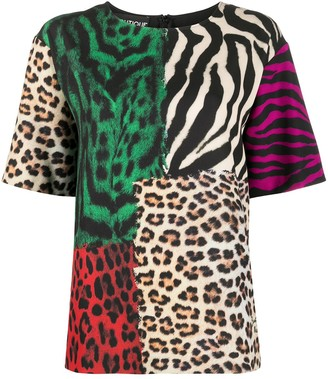 Boutique Moschino colour-block animal print T-shirt