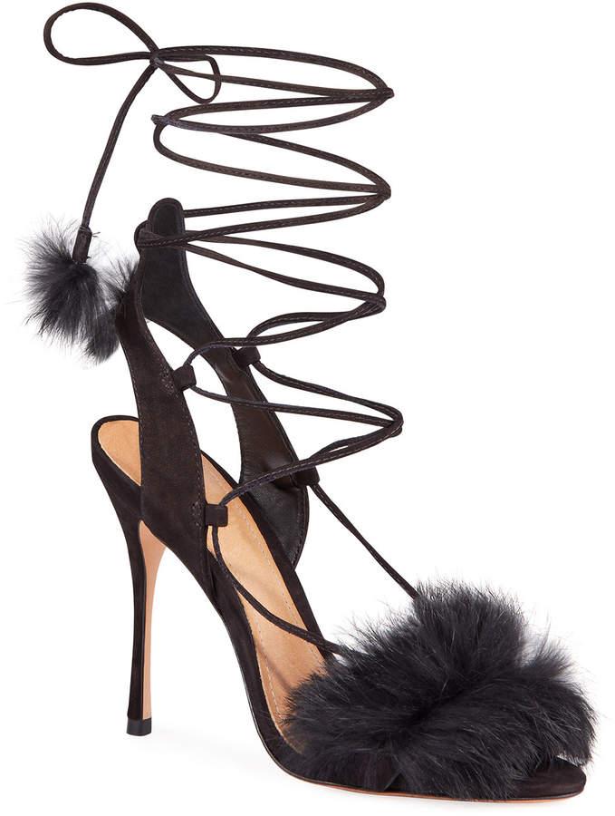 87d54aeac33 Lori Suede Faux-Fur Ankle Tie Evening Sandals
