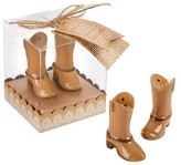 """Kate Aspen Just Hitched"""" Ceramic Cowboy Boot Salt and Pepper Shakers - (Set of 12)"""