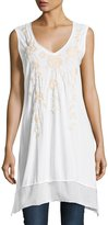Johnny Was Floral-Embroidered Flounce Long Tunic, White