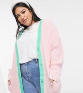 Daisy Street Plus oversized cardigan in pastel knit