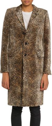 Saint Laurent Mini Leopard Print Velvet Coat