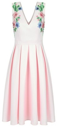 Dorothy Perkins Womens Chi Chi London Pink Floral Embroidered Midi Dress, Pink