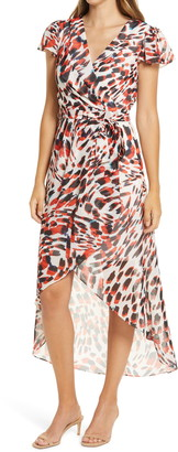 Julia Jordan Animal Print Chiffon Faux Wrap Dress