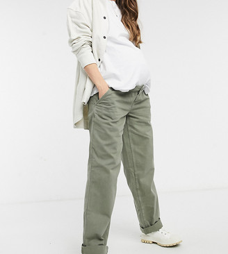 ASOS DESIGN Maternity slouchy chino trouser in khaki with over the bump band